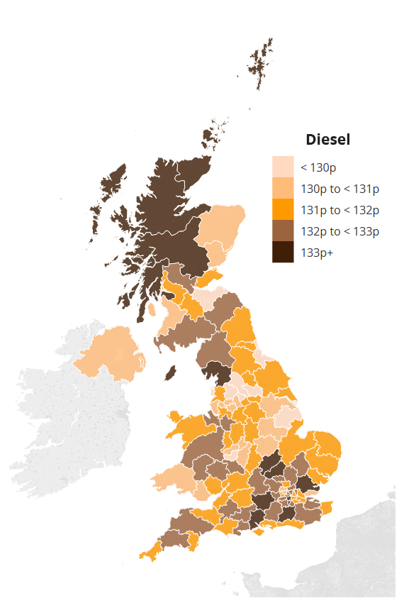 Map showing average UK diesel prices by region