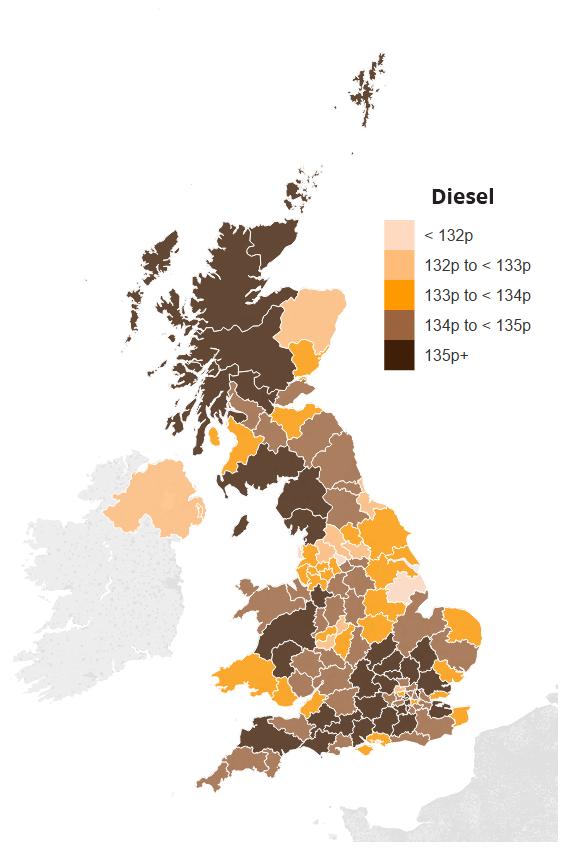 Map showing average UK diesel prices by region